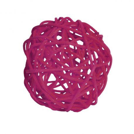 15 boules en rotin diam 4 cm couleur fuchsia