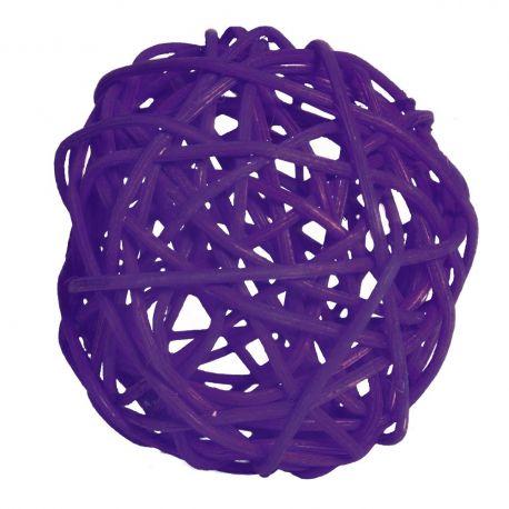12 boules en rotin diam 7 cm couleur violet