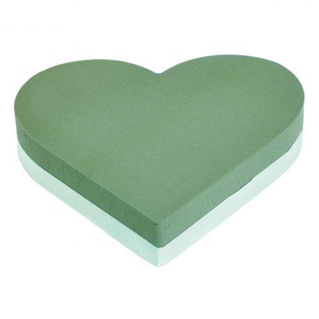 Coeur mousse verte Dia35 cm fond polystyrène Lot de 2