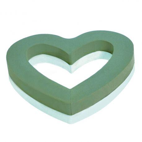 Coeur ouvert mousse verte Dia45cm fond polystyrène  Lot de 2