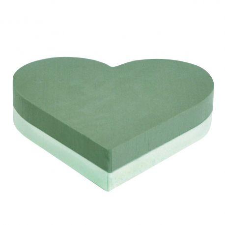 Coeur mousse verte fond polystyrène Dia30 cm Lot de 2