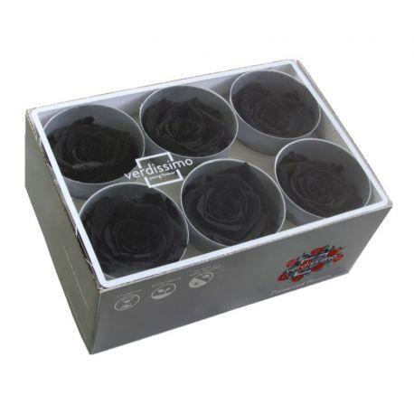 Bouton de rose préservé noir Diamètre 5,5cm Boîte de 6