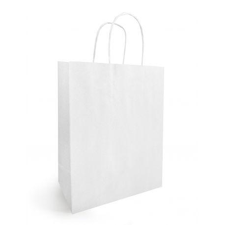 Sac kraft blanchi avec anse x 25 - 16x7x21.5cm