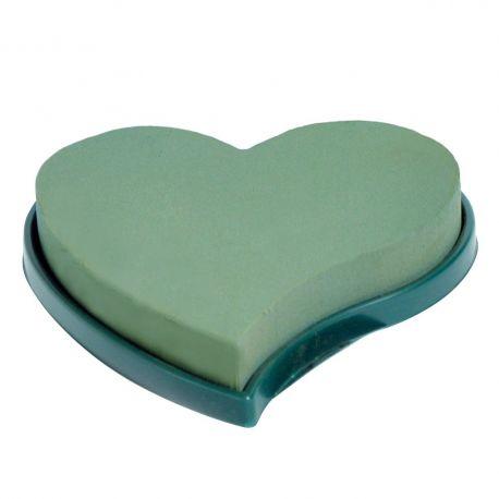 Coeur mousse verte fond plastique Dia30 cm Lot de 2