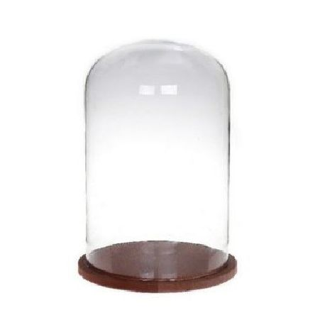 Cloche en verre avec socle en bois D22cm H38cm