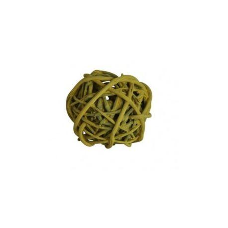 12 boules en rotin jaune diamètre 6cm