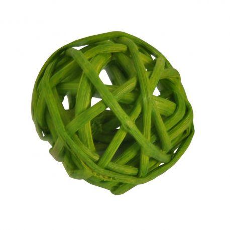 15 boules en rotin diam 4 cm vert pomme