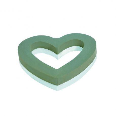 Coeur ouvert mousse verte Dia30cm fond polystyrène  Lot de 2