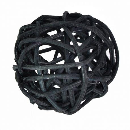 10 boules en rotin diam 6 cm couleur noire