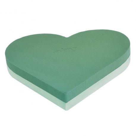 Coeur mousse verte Dia45 cm fond polystyrène Lot de 2
