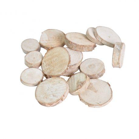 Tranches rondes de bouleau blanchi x 92 pièces